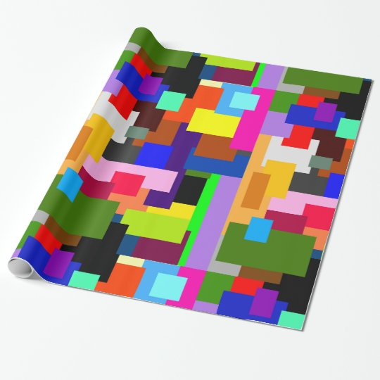 Colourful Patchwork Layers Modern Abstract Wrapping Paper
