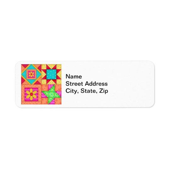 Colourful Patchwork Quilt Art Return Address Label