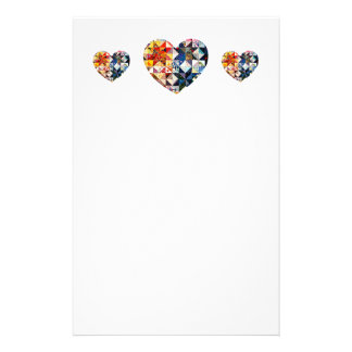 Colourful Patchwork Quilt Heart Stationery