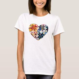 Colourful Patchwork Quilt Heart T-Shirt