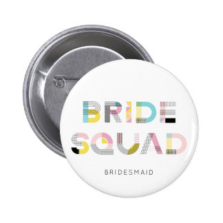 Colourful Pattern Typography Modern Bride Squad 2 Inch Round Button