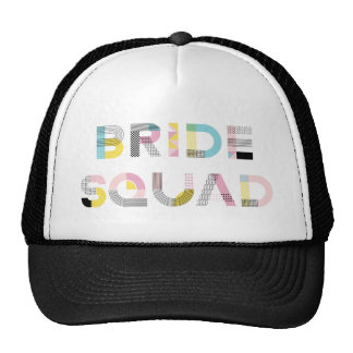 Colourful Pattern Typography Modern Bride Squad Trucker Hat
