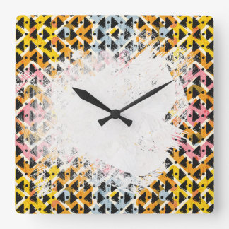 colourful patterned criss cross diamond shaped wallclocks