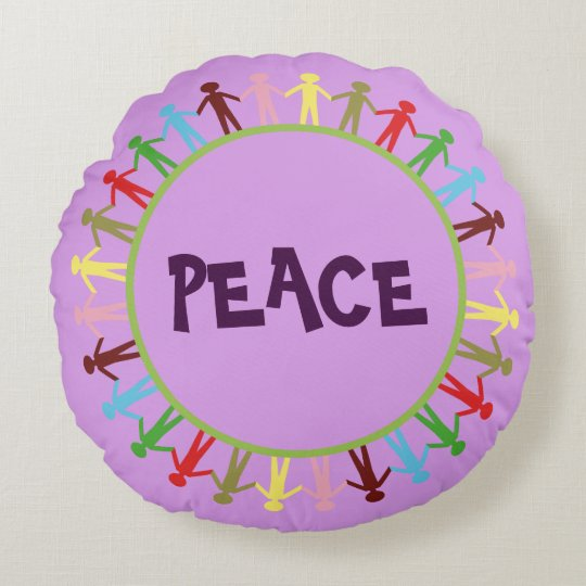 Colourful PEACE Design Round Throw Pillow