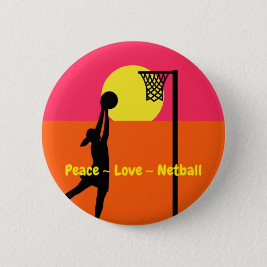 Colourful Peace Love Netball 2 Inch Round Button