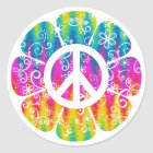 Colourful Peace Symbol Flower Classic Round Sticker