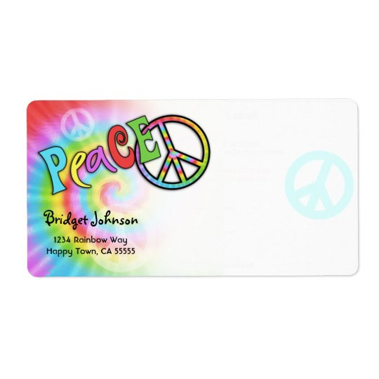 Colourful PEACE Tie Dye Address Label- Large Shipping Label