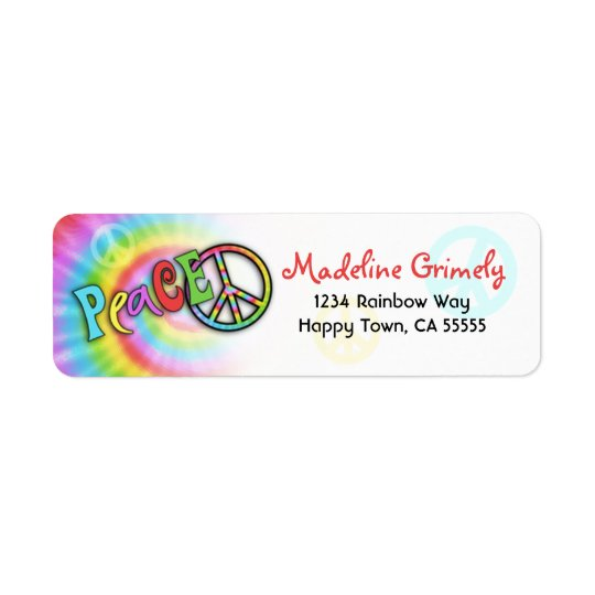 Colourful PEACE Tie Dye Address Label- Small