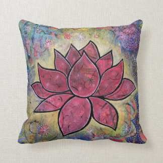 Colourful, Peaceful Lotus Throw Pillow