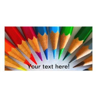 Colourful pencils photo greeting card