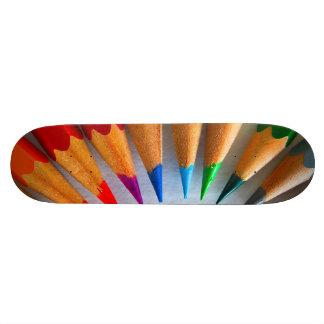 Colourful pencils skateboard deck