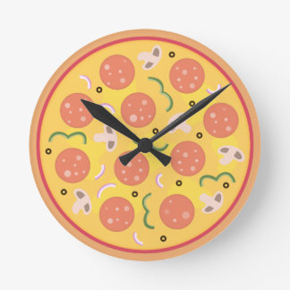 Colourful Pepperoni Pizza Lovers Round Clock