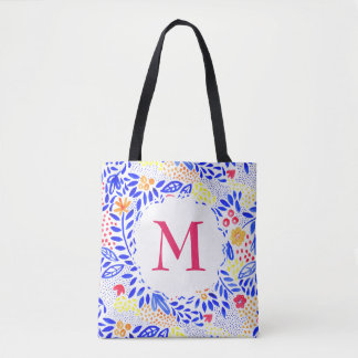Colourful Personalised Floral Pattern Tote Bag