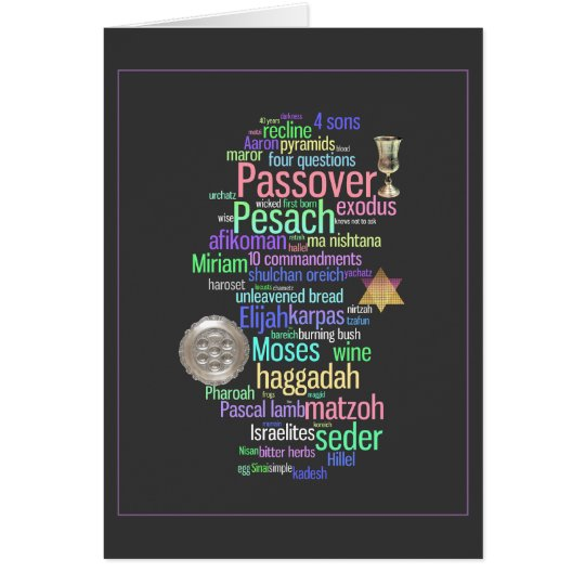 Colourful Pesach Words and Symbols Card