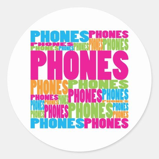 Colourful Phones Classic Round Sticker
