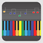 Colourful piano keyboard square sticker