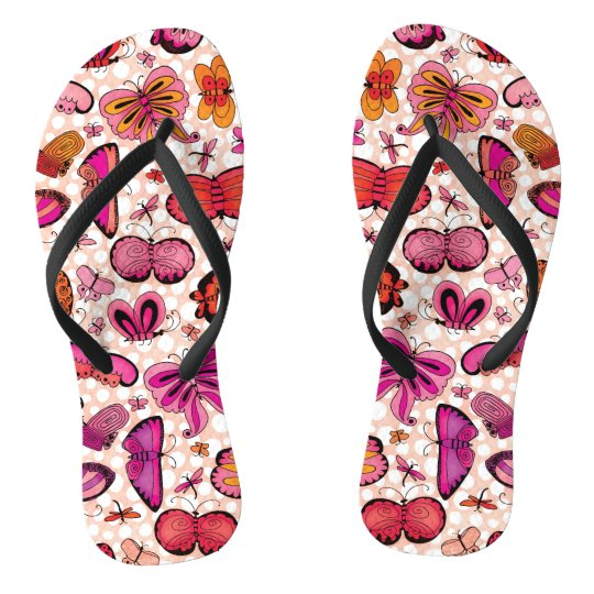 Colourful Pink and Red Butterflies Flip Flops