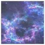 Colourful pink blue galaxy nebula pattern fabric