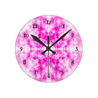Colourful pink kaleidoscope pattern round clock