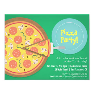 "Colourful Pizza Movie Teens Birthday Party 4.25"" X 5.5"" Invitation Card"