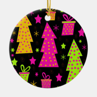 colourful, playful Xmas Round Ceramic Ornament