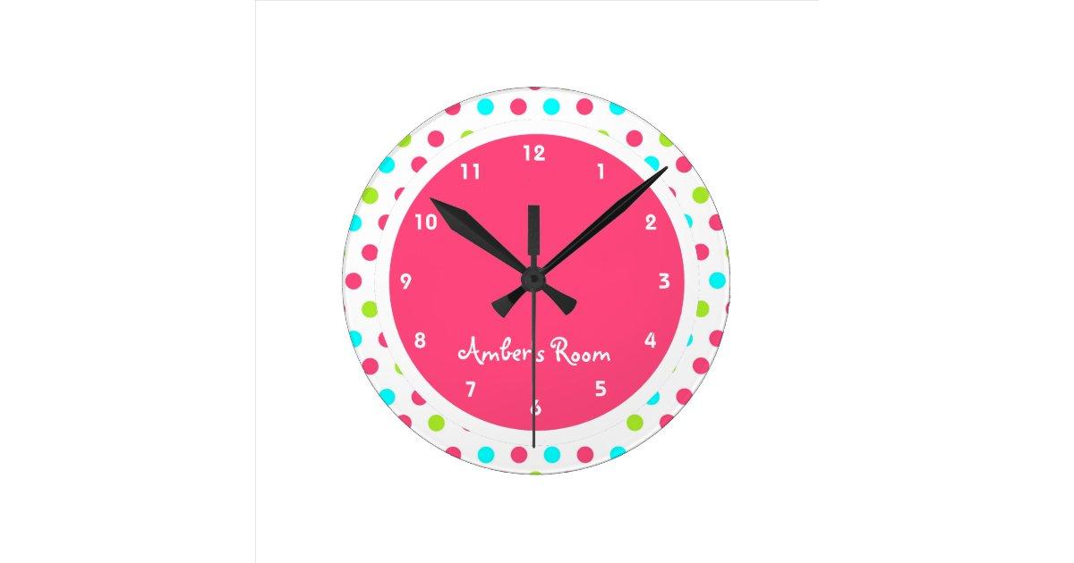 colourful polka dot kid 39 s bedroom wallclocks zazzle