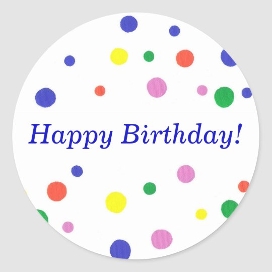 Colourful Polka Dots Happy Birthday Stickers