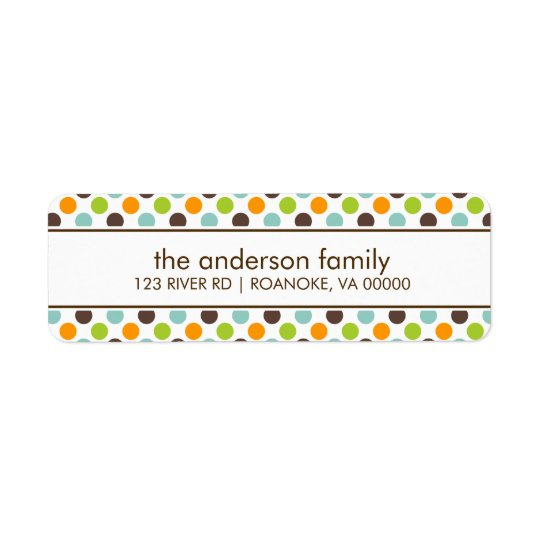Colourful Polka Dots Return Address Label