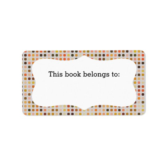 "Colourful Polka Dots ""This Book Belongs To"" Labels"