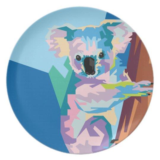 Colourful Pop Art Koala Portrait Plate