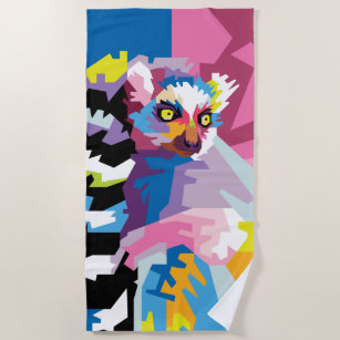Colourful Pop Art Lemur Portrait Beach Towel