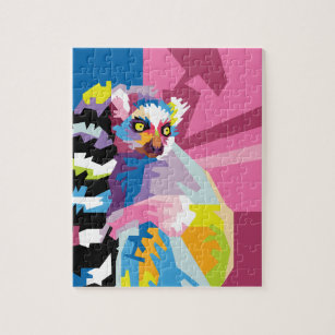 Colourful Pop Art Lemur Portrait Jigsaw Puzzle