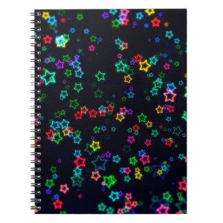 Colourful Pop Neon Star Spiral Notebook