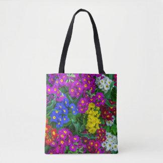 Colourful primroses all-over-print tote bag