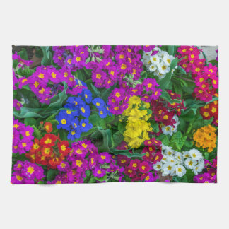 Colourful primroses kitchen towel