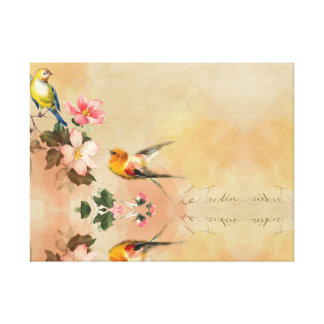 Colourful pring, birds, abstract canvas