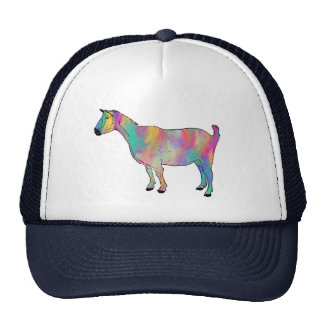 Colourful psychedelic funny goat cap trucker hat