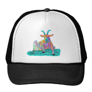 Colourful psychedelic funny goat trucker hat