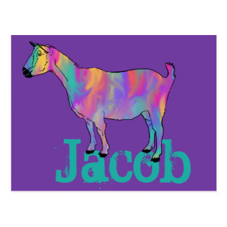 Colourful psychedelic goat on things add your name postcard
