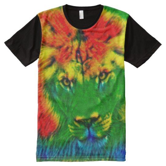 Colourful Psychedelic Rainbow Tie Dye Ganja Lion