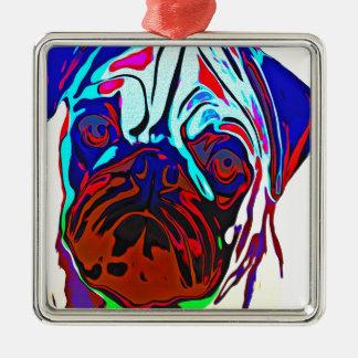 Colourful Pug Metal Ornament