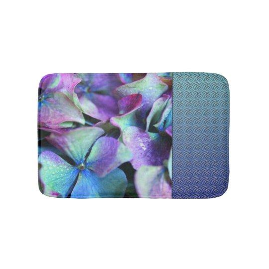 Colourful Purple & Teal Flowers Bath Mat