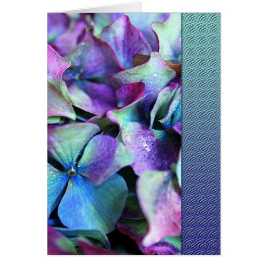 Colourful Purple & Teal Flowers Card