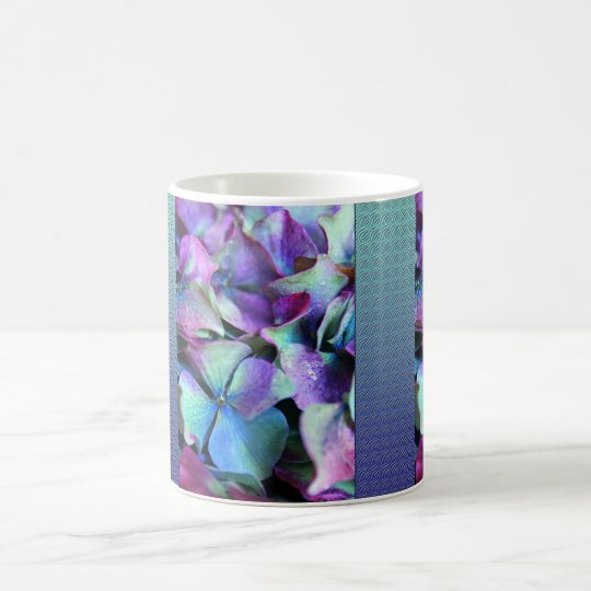 Colourful Purple & Teal Flowers Coffee Mug