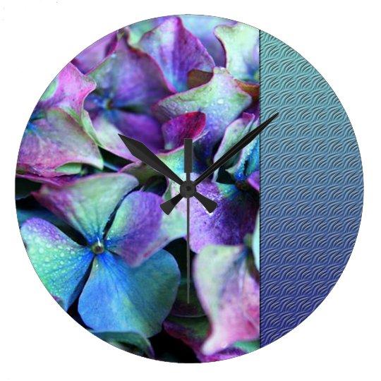 Colourful Purple & Teal Flowers Large Clock