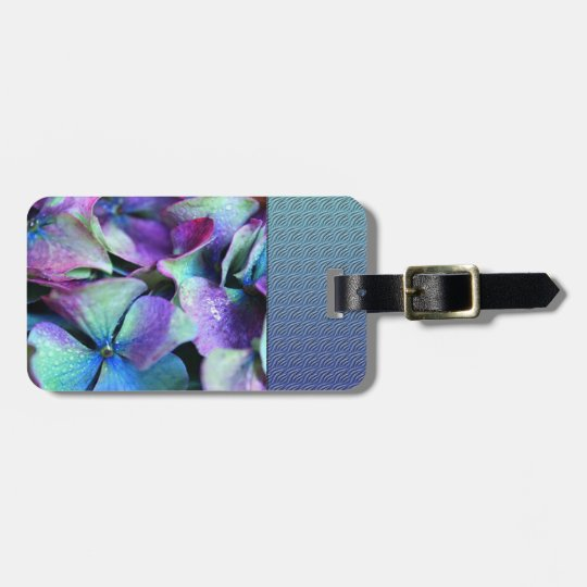 Colourful Purple & Teal Flowers Luggage Tag