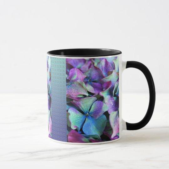 Colourful Purple & Teal Flowers Mug