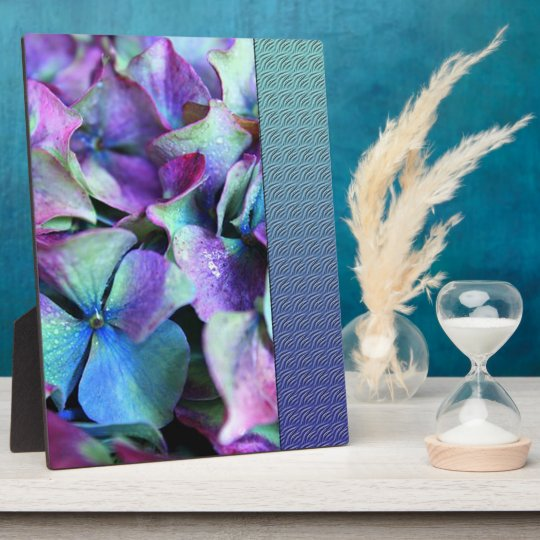 Colourful Purple & Teal Flowers Plaque