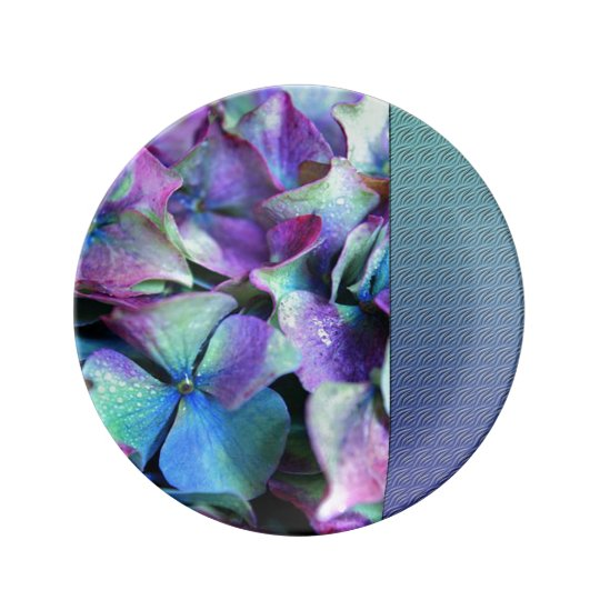 Colourful Purple & Teal Flowers Plate