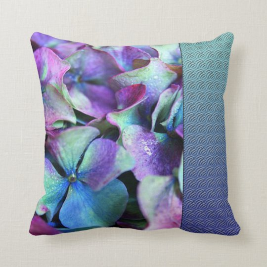 Colourful Purple & Teal Flowers Throw Pillow